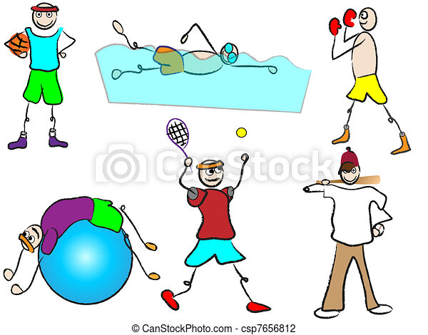 sport récréation, dessin animé - csp7656812