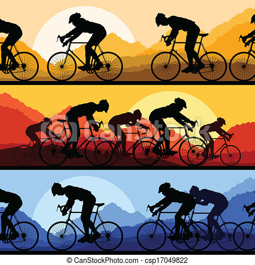 Sport road bike riders and bicycles detailed silhouettes - csp17049822