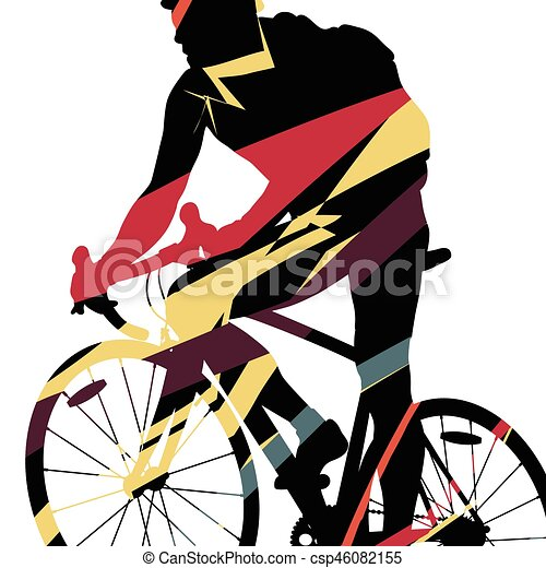 Sport Road Bike Riders Bicycle Silhouette In Abstract Mosaic