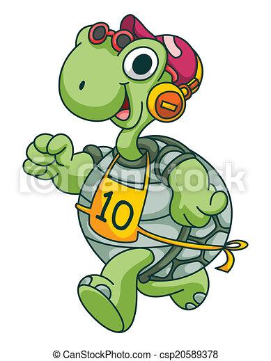 Sport Running Turtle Funny Cartoon - csp20589378