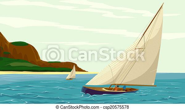Sport sail yacht against island. - csp20575578
