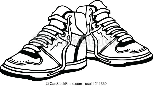 sport shoes illustration clipart vector search illustration rh canstockphoto com Graphic Black and White Vector running shoe vector graphic