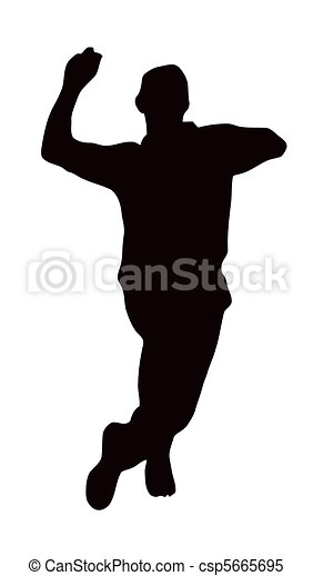 Sport silhouette - bowler run-up. Sport silhouette ...