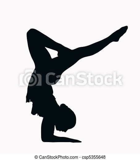 Sport Silhouette Female Gymnast Doing Arm Stand Isolated