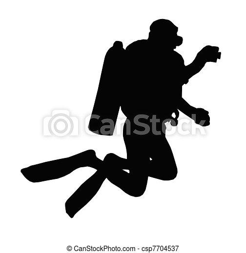 Sport Silhouette ? Scuba Diver Taking Under Water Picture - csp7704537