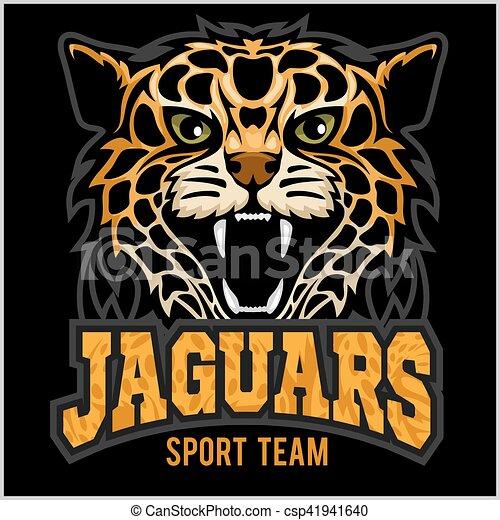 Sport team - Jaguar, wild cat Panther. Vector illustration, black background, shadow. - csp41941640