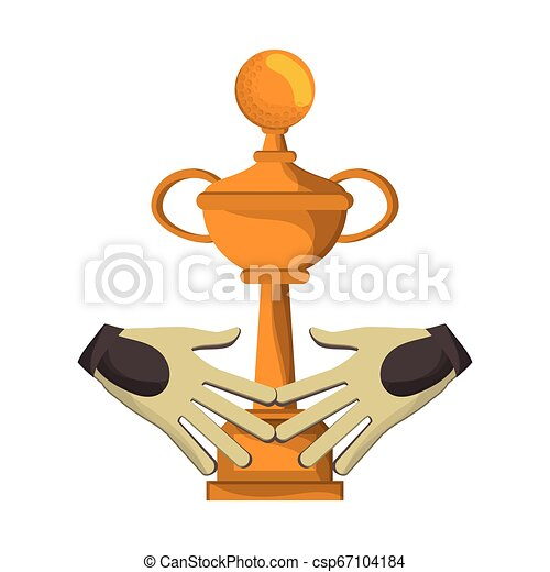 Sport Trophy Cup And Golf Gloves Cartoon Vector Illustration Graphic Design