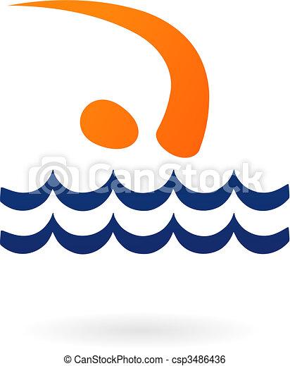 Sport vector figure - swimming - csp3486436