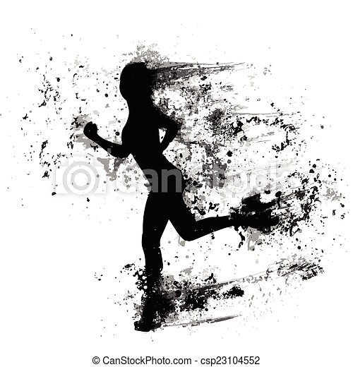 sport woman run paint splash silhouettes, black girl isolated - csp23104552