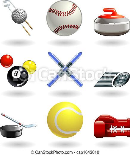 sporten, reeks, set, glanzend, pictogram - csp1643610