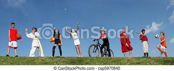 sporten, zomer kamp, geitjes - csp5970840