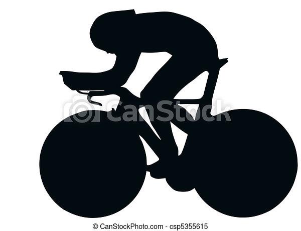 sportende, -, fiets, racer, silhouette - csp5355615