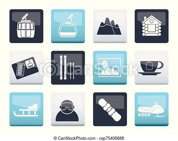 sportende, iconen, op, kleuren achtergrond, hardloop wedstrijd, ski - csp75406688