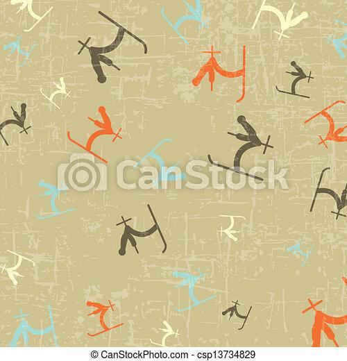 sportende, ski, tekening, achtergrond - csp13734829