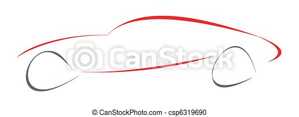 sportende, vrijstaand, auto, illustration. - csp6319690