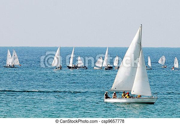 sportende, -, zee, zeilend - csp9657778