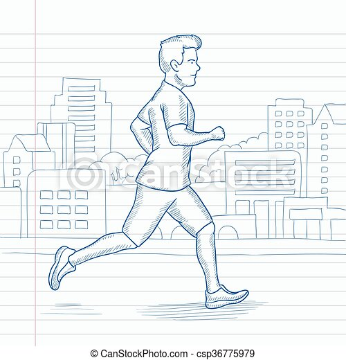 afbadd7cff60 Sportive man jogging. A man jogging in the city. hand drawn vector ...