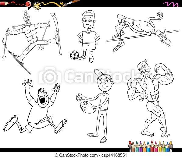 Sportler, färbung, karikatur, seite. Disziplin, färbung,... Clipart ...