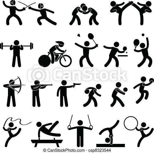 sportowy, gra, domowy, sport, ikona - csp8323544