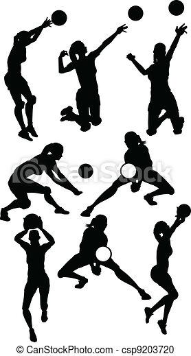 sportowy, sylwetka, pozy, samica, siatkówka - csp9203720