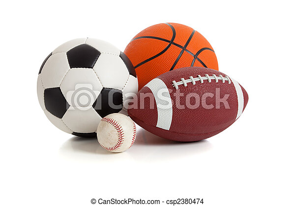sports, assorti, blanc, balles - csp2380474
