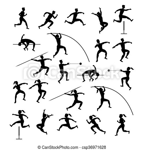 Sports Athletes Track And Field Silhouette Set Athletics Games