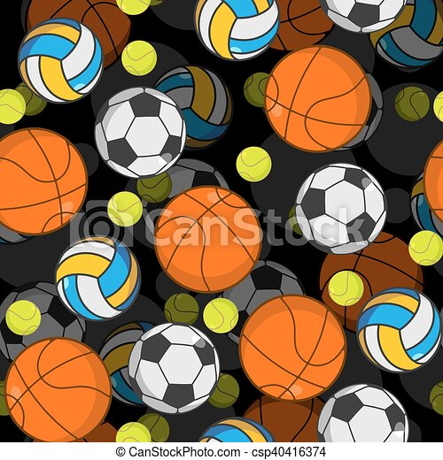 Sports Ball 3d Seamless Pattern Balls Decoration Basketball And Football Tennis Volleyball
