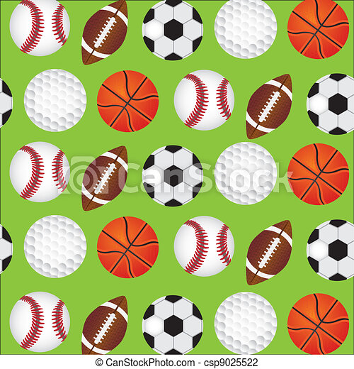 Sports Balls Background Over Green Pattern