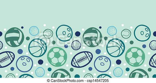 Sports Balls Horizontal Seamless Pattern Background Border Sports Balls Horizontal Seamless Pattern Background Ornament With