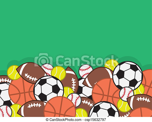 Sports Balls Pile In A Large With Green Background
