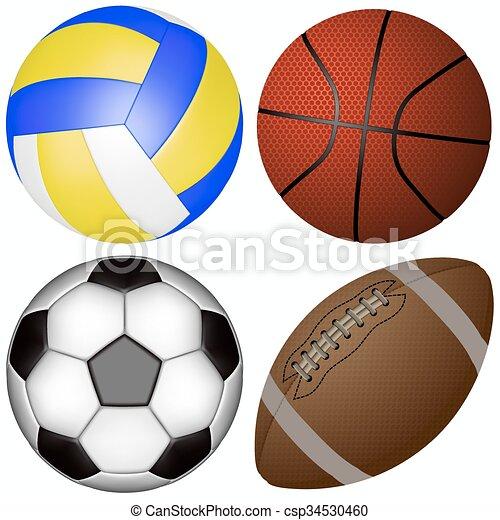 Sports Balls Set On A White Background