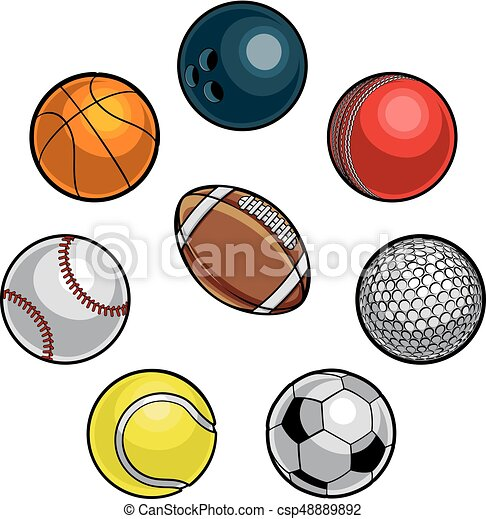Sports Balls Set A Set Of Cartoon Sports Balls Icons