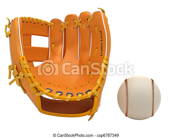 Sports: baseball glove and ball isolated - csp6787349