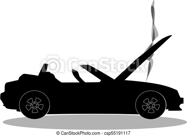 Black Silhouette Of Broken Cabriolet Sport Cartoon Car With Opened