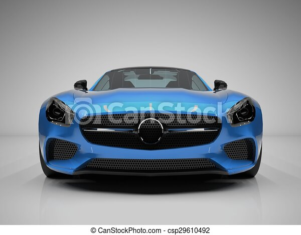Bon Sports Car Front View. The Image Of A Sports Blue Car On A White Background.  Stock Illustration
