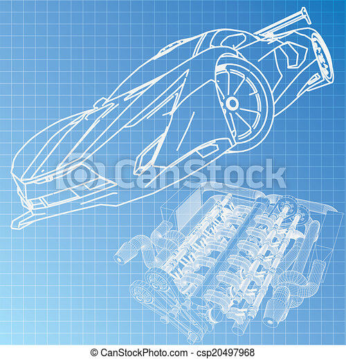 Sports car sketch blueprint clip art vector search drawings and sports car sketch blueprint csp20497968 malvernweather Choice Image