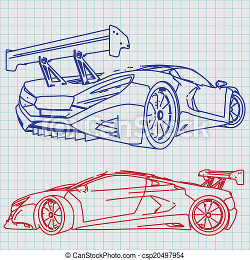 Sports car sketch blueprint clipart vector search illustration sports car sketch blueprint malvernweather Image collections