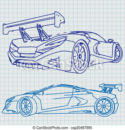 Sports car sketch blueprint eps vectors search clip art sports car sketch blueprint csp20497990 malvernweather Gallery