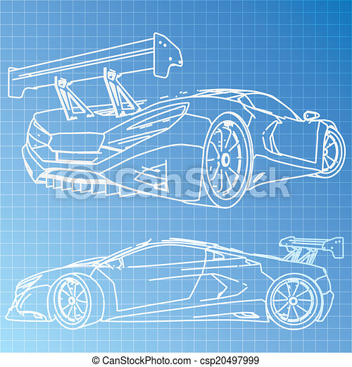 Sports car sketch blueprint sports car sketch blueprint csp20497999 malvernweather Image collections