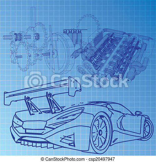 Sports car sketch blueprint eps vector search clip art sports car sketch blueprint csp20497947 malvernweather Gallery