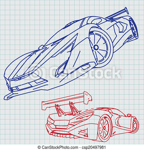 Sports car sketch blueprint vector search clip art illustration sports car sketch blueprint csp20497981 malvernweather Image collections
