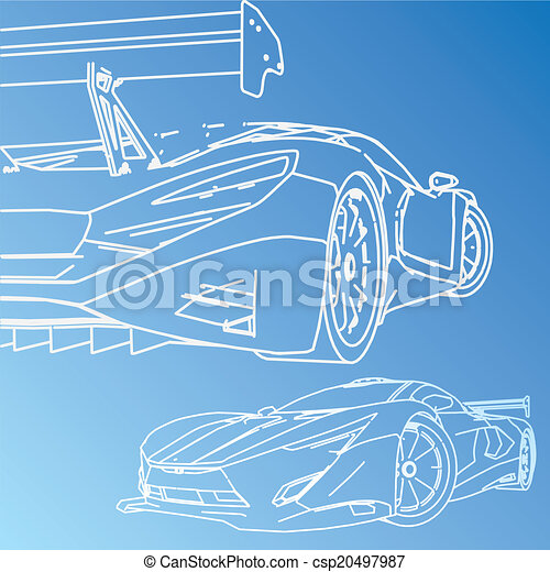 Sports car sketch blueprint vector search clip art illustration sports car sketch blueprint csp20497987 malvernweather Choice Image