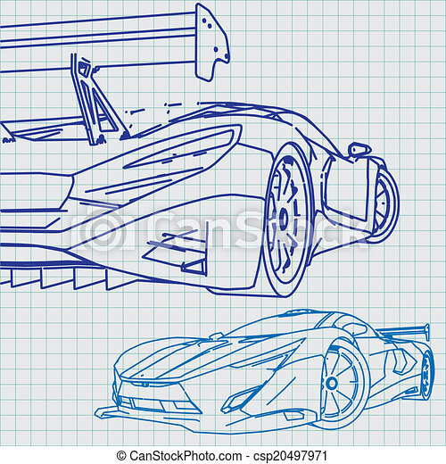 Sports car sketch blueprint vectors illustration search clipart sports car sketch blueprint csp20497971 malvernweather Image collections