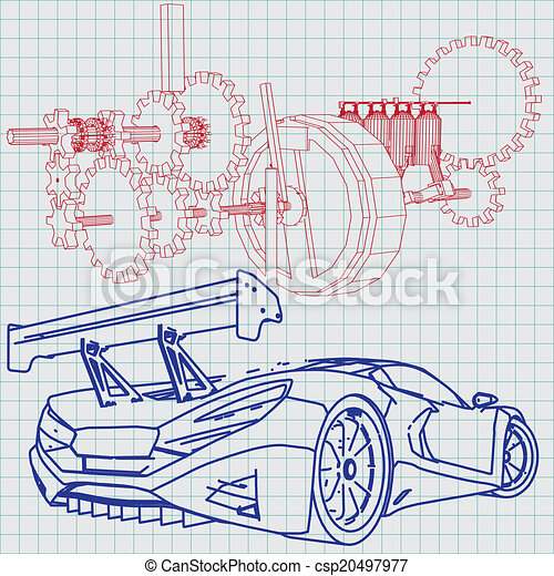 Sports car sketch blueprint vectors illustration search clipart sports car sketch blueprint csp20497977 malvernweather Image collections