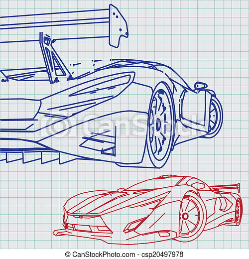 Sports car sketch blueprint vectors illustration search clipart sports car sketch blueprint csp20497978 malvernweather Image collections