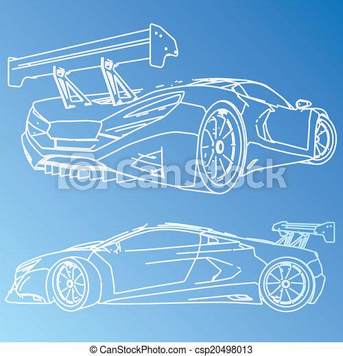 Sports car sketch blueprint vector clip art search illustration sports car sketch blueprint csp20498013 malvernweather Choice Image