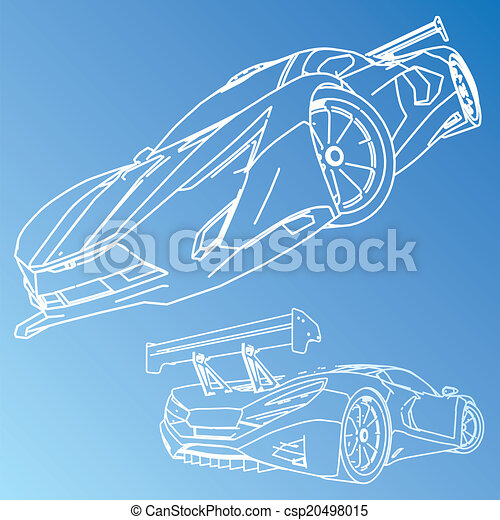 Sports car sketch blueprint sports car sketch blueprint csp20498015 malvernweather Image collections