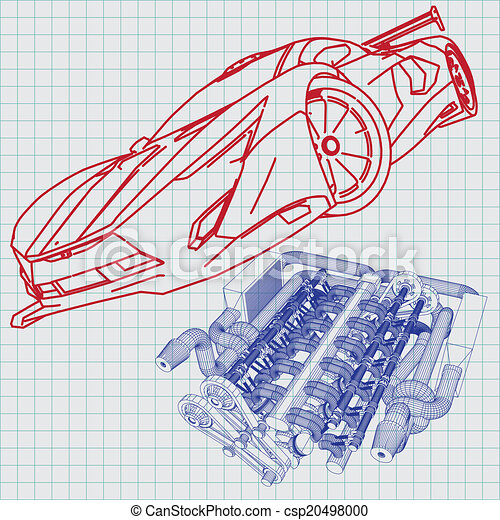 Sports car sketch blueprint vector clipart search illustration sports car sketch blueprint csp20498000 malvernweather Image collections