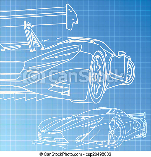 Sports car sketch blueprint vector clipart search illustration sports car sketch blueprint csp20498003 malvernweather Image collections