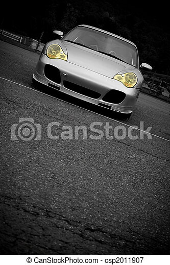 Sports Car With Copyspace A Silver Sports Car With The Yellow
